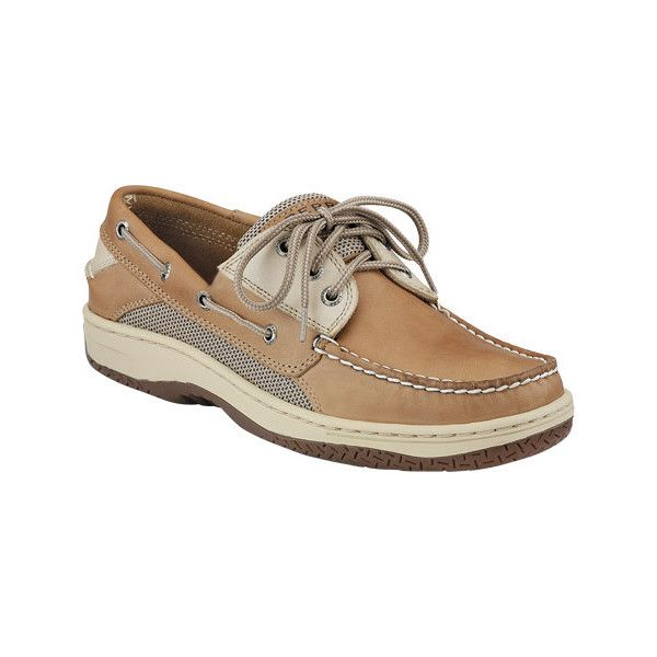 Men's Sperry Billfish 3-Eye Boat Shoe - Tan/Beige Casual ($105) ❤ liked on Polyvore featuring men's fashion, men's shoes, men's loafers, casual, moc toe shoes, mens beige shoes, mens tan shoes, mens sperry topsiders, sperry mens shoes and mens topsiders