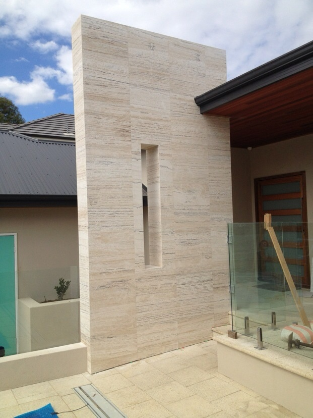 Sandstone Elevation Tiles : Travertine feature wall moretti vein cut external