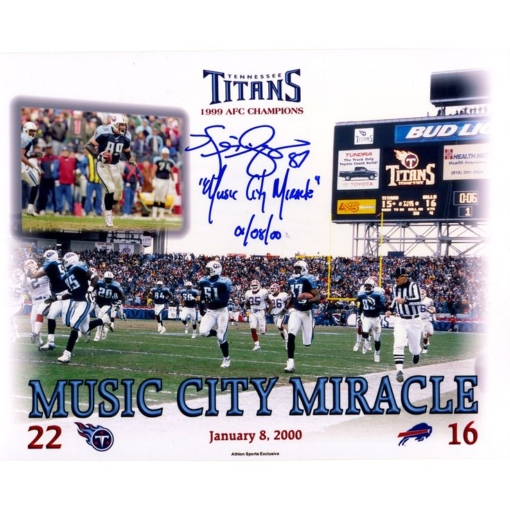 """Steiner Kevin Dyson Signed Tennessee Titans Music City Miracle 8x10 Photo w/ """"Music City Miracle 01/08/00""""Insc"""