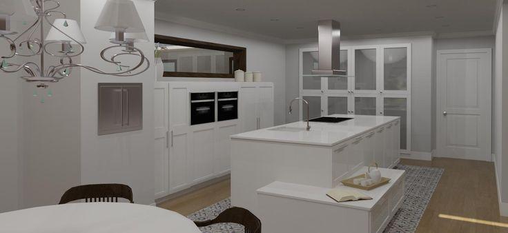 Cocina moderna con isla y comedor: diseño en 3D