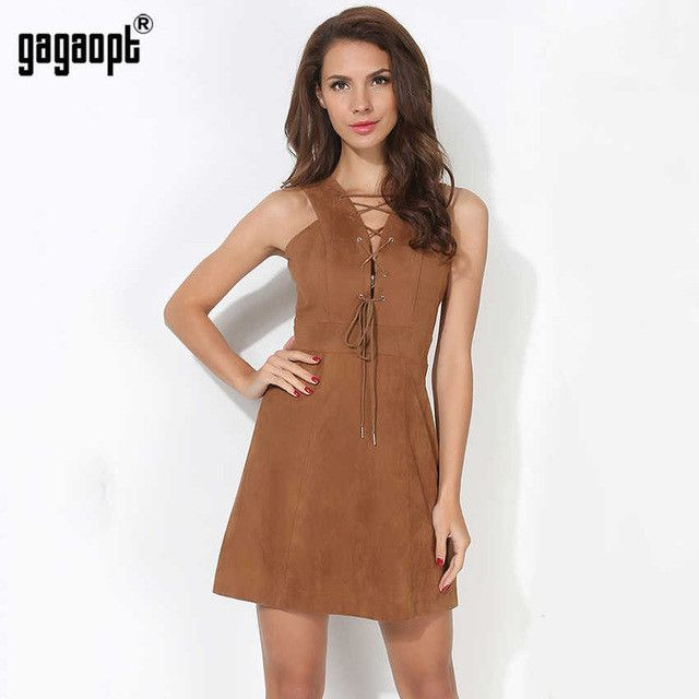 Summer Sexy Women Dress A-line Short Party Dresses V-neck Lace Up Sleeveless Casual Spring