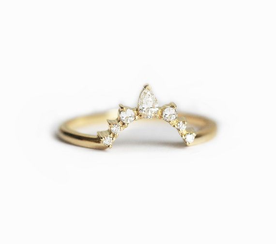 So special! White diamond ring. We can make this band to match perfectly with your engagement ring. Looks best with round, pear, oval, cushion shaped
