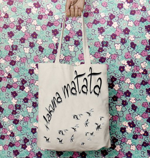 Hakuna matata, Tote canvas bag, Motivational quote, Inspiration tag, Gift for her, Shopping bag, Shoulder bag, Handmade gift, Casual, Cotton