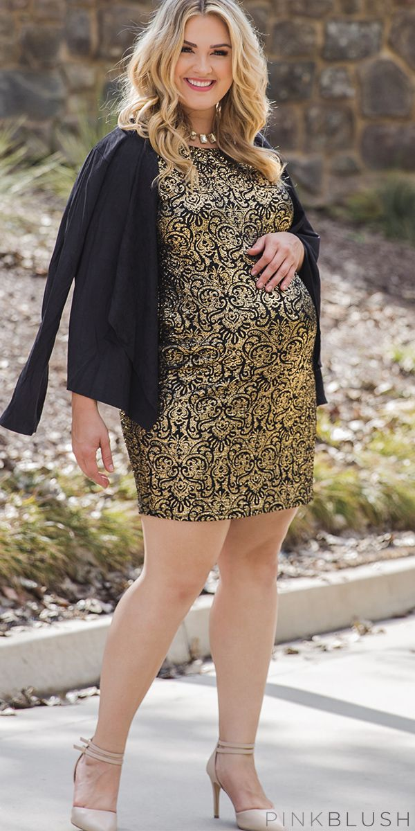 Party in style and comfort with this fun and flirty metallic maternity mini dress. This little beauty features a gold metallic print that gives this already amazing dress, a touch of glamour. Style this with your favorite heels and fun accessories to get the ultimate night out look.