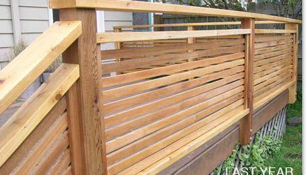 Horizontal Wood 1x2 Slat Privacy Handrail | Deck Railing