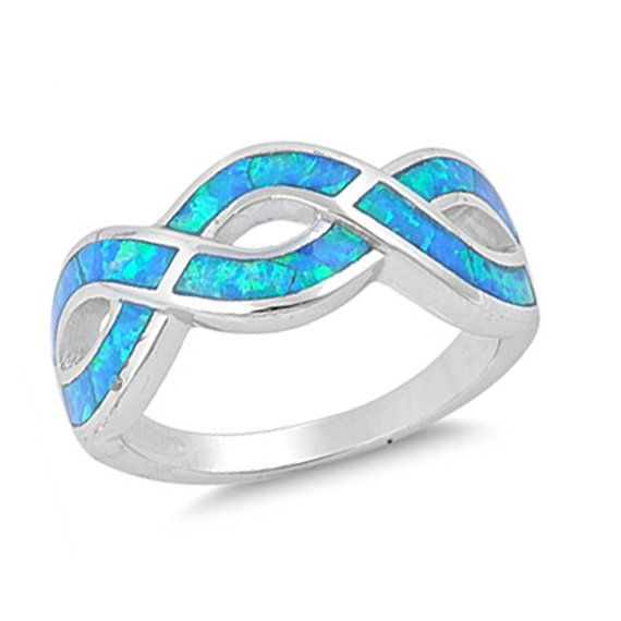 infinity blue fire opal .925 sterling silver twisted fashion anniversary band ring size 7 8 9 10 on Etsy, $30.99