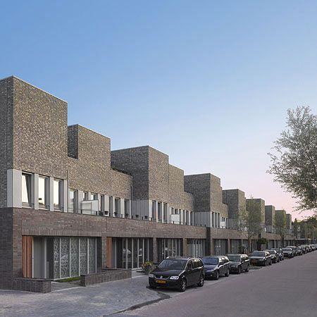 Dutch architects Snitker/Borst have completed 48 split-level homes in Leiden, the Netherlands.