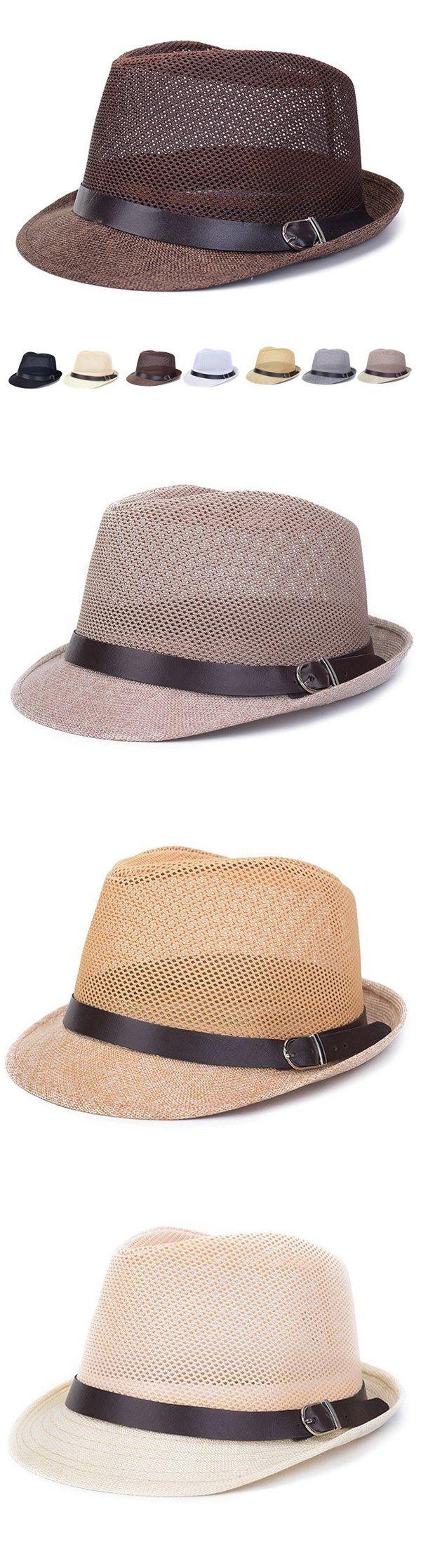 Men Women Hollow Out Mesh Top Hat Casual Braid Fedora Beach Sun Flax Panama Jazz Hat
