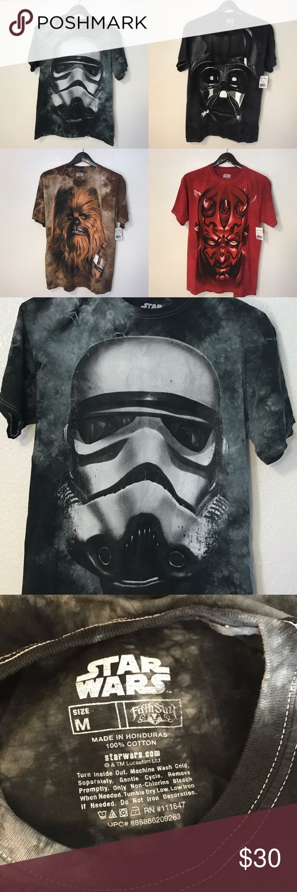 Brand New ⭐️ Star Wars T-Shirt 4 Pack Bundle Sz M Four Star Wars T-Shirts (3/4 still are Brand New with Tags) characters include a Storm Trooper (size Medium in perfect condition), Darth Vader (size Medium NWT), Chewbacca (size Large NWT), & Darth Maul (size Medium NWT) They all fit the same & can even be unisex. These are all pretty awesome looking for the real Star Wars fans!! Prices are not firm, offers always welcome 😁 Star Wars Shirts Tees - Short Sleeve