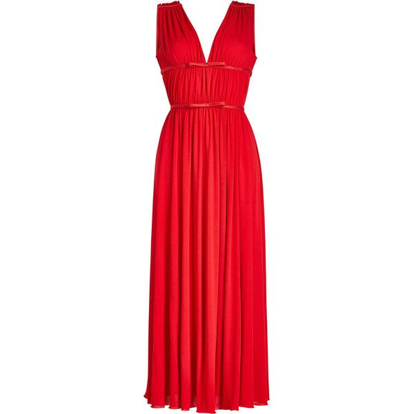 Giambattista Valli Gathered Dress ($2,070) ❤ liked on Polyvore featuring dresses, red, special occasion dresses, sleeveless dress, red ruched dress, red holiday dress and ruched evening dress