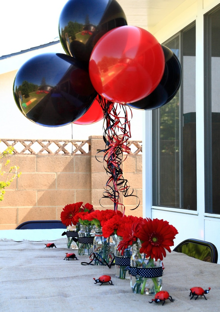 this is exactly what I plan on doing, going to use a ladybug mylar balloon for the top. PERFECTION!