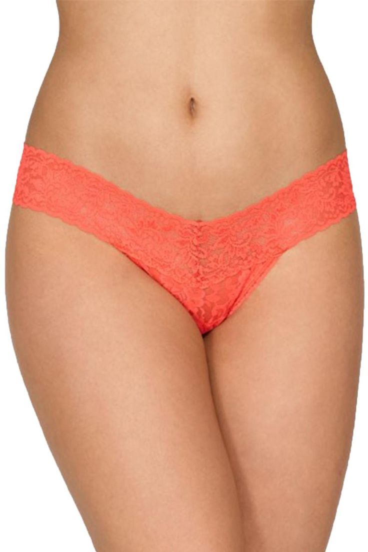 """One-size thong in Hanky Panky´s signature stretch lace.Fits sizes 2-12 best (hips measuring 35""""-42"""").Low Rise fits lower on the hips.V-front, V-back waistband.   Low Rise Thong  by Hanky Panky. Clothing - Lingerie & Sleepwear - Panties Canada"""