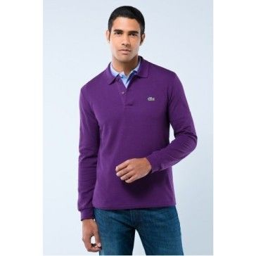Men Polo Shirt Long Sleeve, purple