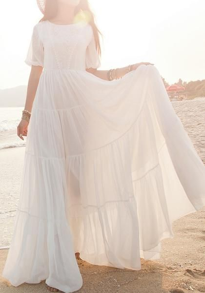 6cc4e104dc3e7 Buy White Lace Side Pull Round Neck High Waisted Bohemian Elegant Maxi Dress  online with cheap prices and discover fashion Maxi Dresses