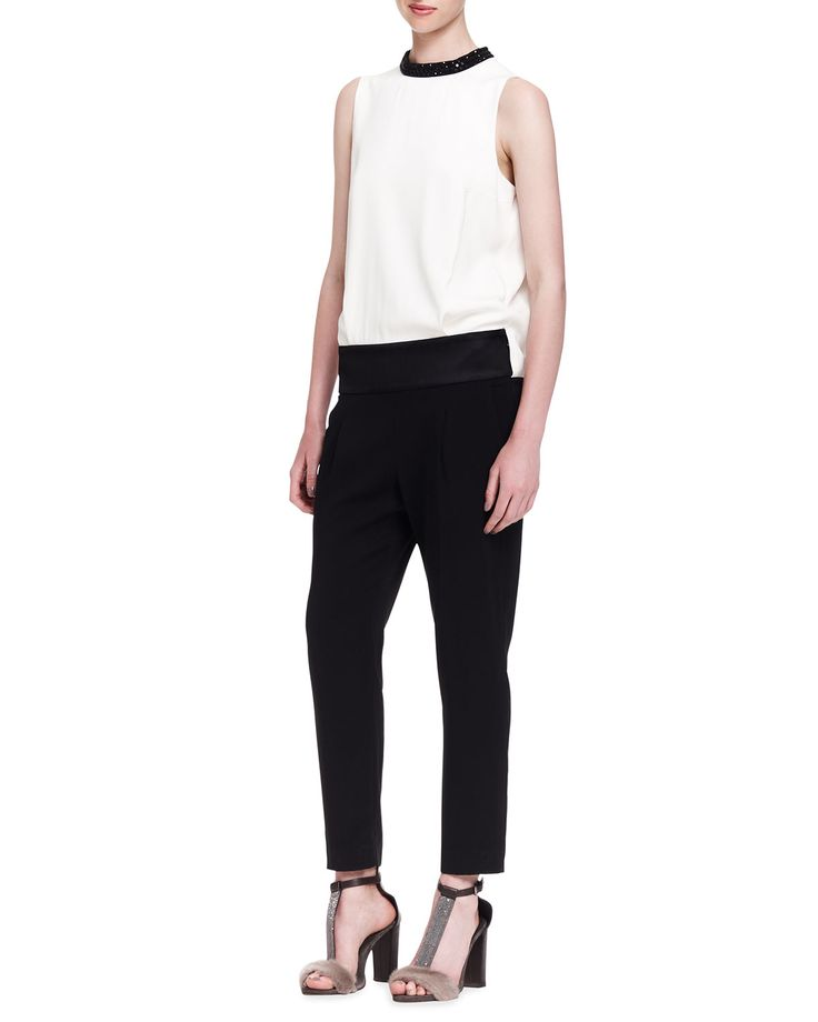 Brunello Cucinelli Colorblock Crystal-Collar Evening Jumpsuit: A menswear-inspired alternative to your usual cocktail dress, this Brunello Cucinelli jumpsuit impresses for evening in colorblock silk with crystal-trimmed collar.
