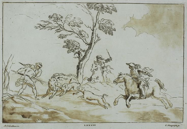 "ANTONIO DOMENICO GABBIANI, Italia S,XVIII ""La caza del jabalí"""