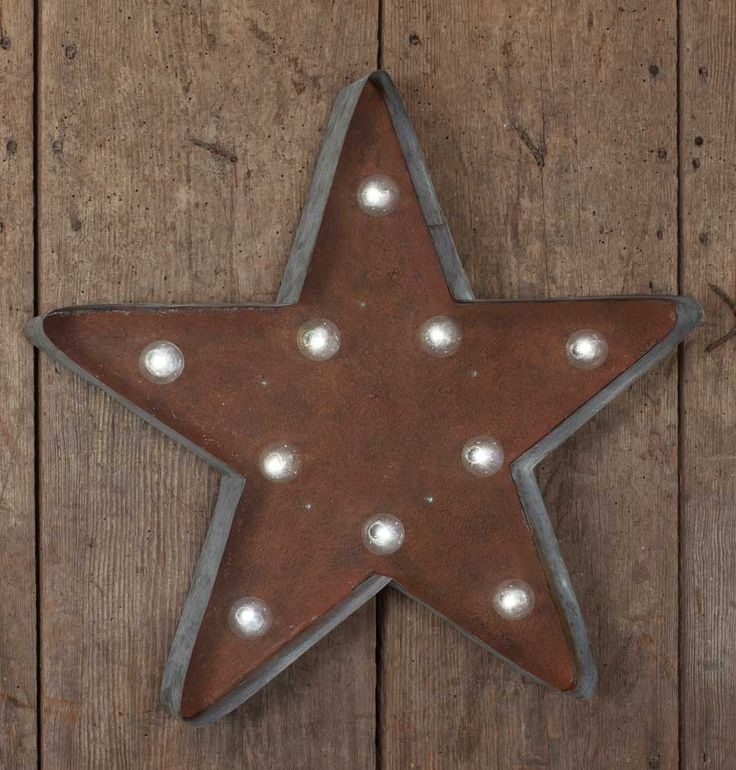 "This large star marquee sign should grab the attention of farmhouse home decor and industrial home decor enthusiasts alike!! You've never seen galvanized steel look so good as when this fantastic fixture is turned on. It includes LED light bulbs, an on/off switch and requires 2 AA batteries.    The sign measures 18½""W x 2¾""D x 17½""T."