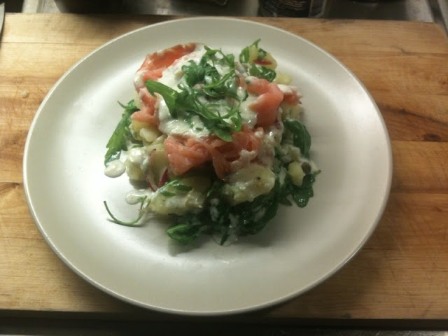 ... and olive oil served with smoked salmon and a yogurt-lemon dressing