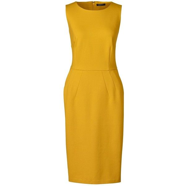 Lands' End Women's Petite Ponté Sheath Dress ($69) ❤ liked on Polyvore featuring dresses, yellow, yellow sheath dress, lands end dresses, petite dresses, petite sheath dress and slimming dresses