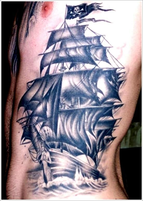 Vintage pirate ship tattoo designs by Jared Hurst for men on arm | Tattoos