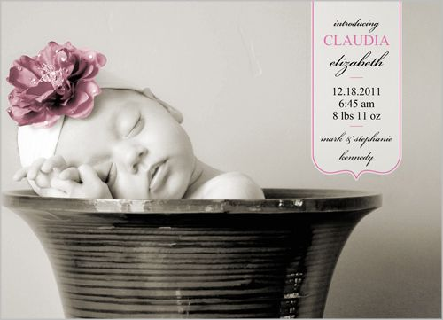 Welcome Baby Girl Birth Announcement