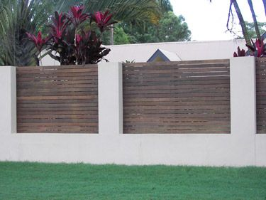 creative privacy fence ideas | Brisbane rendered block with timber insets