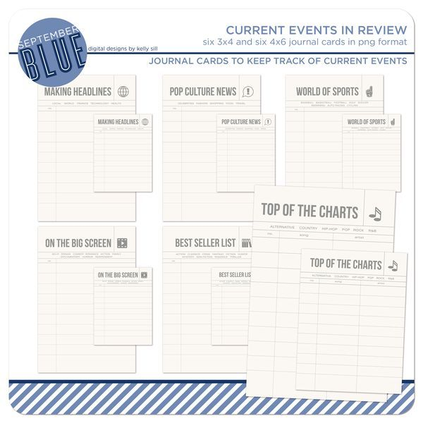 CURRENT EVENTS IN REVIEW This collection of journal cards will help you keep track what's going on in the news, pop culture, sports, movies, music and books. The set comes with six 3x4 and six 4x6 cards for you to use in your weekly or monthly layouts or use them...