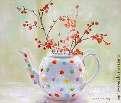 Светлые моменты... - ярко-красный,вишневый,живопись маслом,картина в подарок
