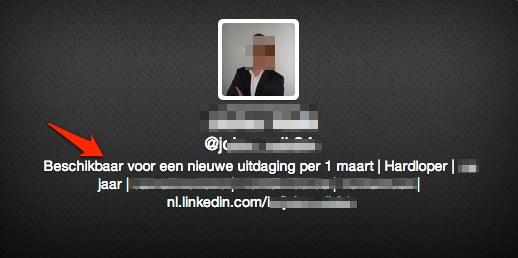Twitter profiel voorbeeld. Hier zie je een - geanonimiseerd - voorbeeld van een profiel van iemand die zoekt naar werk.