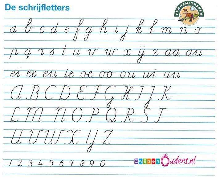 Schrijfletters pennenstreken