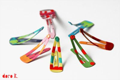 girl's craft: make some colorful hair #clips with nail polish!