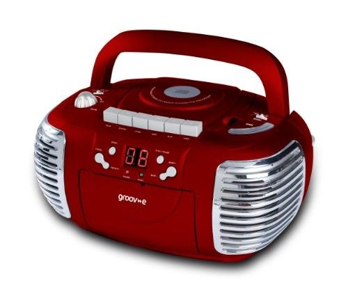 Groov-e Retro Boombox Portable CD, Cassette, Radio Player - Red GVPS813RD