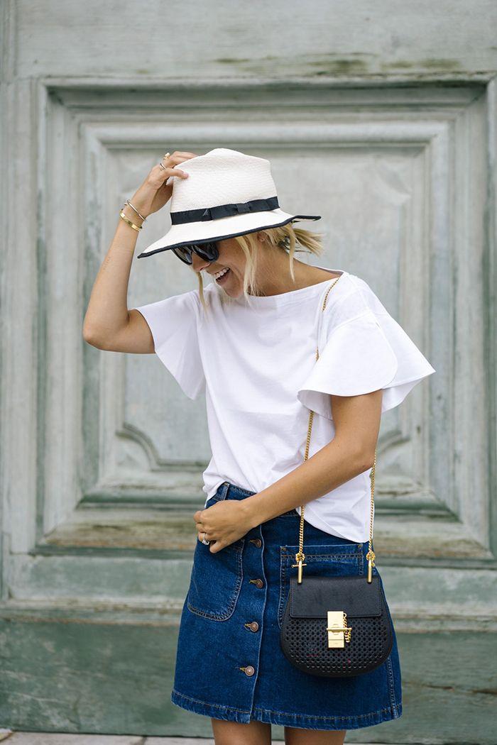spring / summer - street chic style - dark denim a-line skirt + white