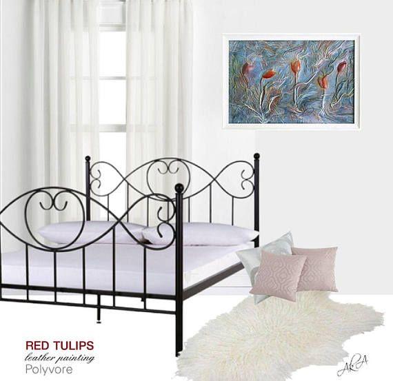 #red #tulips #painting #decor #artdecor #wallart #artnouveau #leathergift #leatherart #leather #leatherpainting #original #stylish #modern #interiordesign #journal #art #polyvore #design