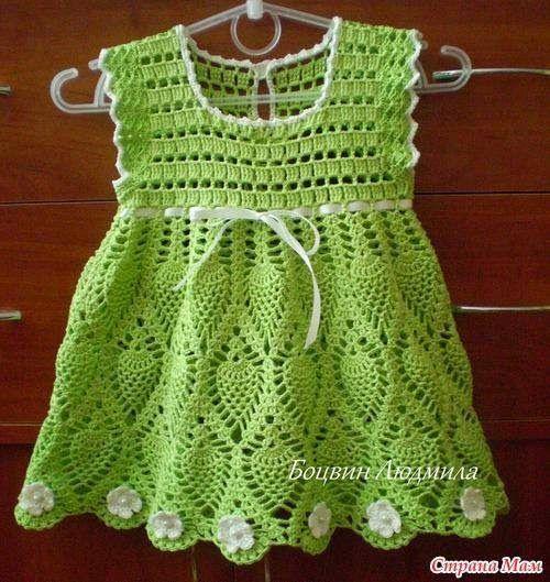 """Vestido crochet para bebe com gráfico - """"Crochê da Mimi"""""""