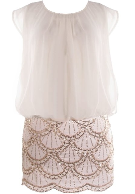 Roaring Twenties Dress: Features an airy chiffon bodice defined by beautiful drapery, tonal liner for full coverage, slitted sides and keyhole closure at nape, and a brilliant white skirt covered with gold sequin scalloped lines to finish.