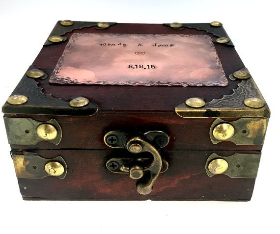 Personalized Hand Stamped Antique Jewelry Box - Antique Finish - Wood Grain Jewelry Box - Custom Jewelry Box - Great Christmas Gift!