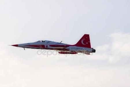 Turkish military acrobatic airplane is flying