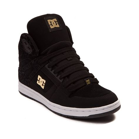 Take a walk on the wild side with the Rebound Hi Skate Sneaker from DC! Kick start your ensemble with the Rebound Hi Skate Shoe, flaunting a hi-top design with gold branding and leopard print overlays. Only available at Journeys and SHI by Journeys!    Features include   Suede upper with synthetic overlays and breathable mesh lining
