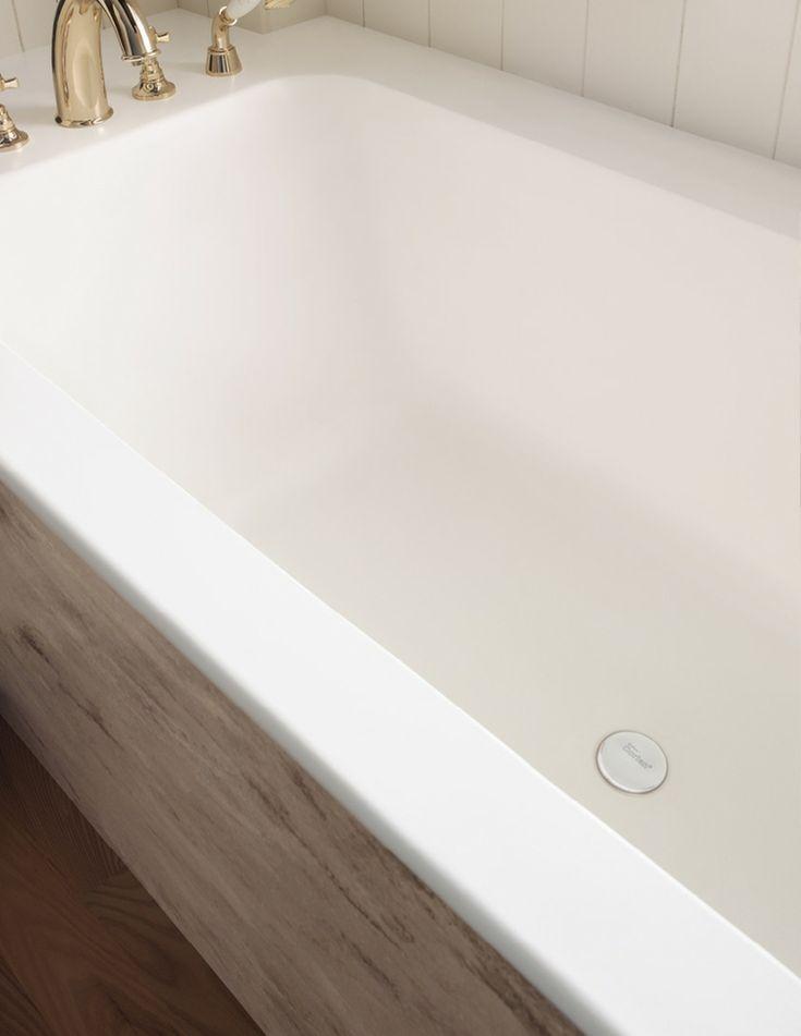 Mineralwerkstoff Badewanne Eingebaut Armaturen Gold #badezimmer #bathroom  #design