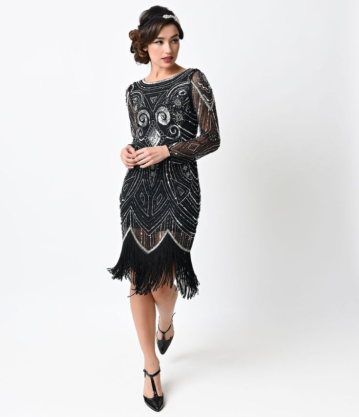 This is so awesome, Mom!  1920s Style Black & Silver Hand Beaded Long Sleeve Karyn Flapper Dress