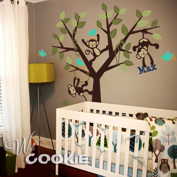 Baby boy room: Wall Art, Monkey Rooms, Monkey Theme, Baby Boy Rooms, Baby Boys Rooms, Wall Decals, Rooms Ideas, Baby Rooms, Kids Rooms
