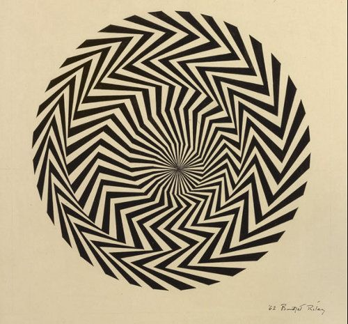 Bridget Louise Riley CH CBE  Blaze Study, 1962. An English painter who is one of the foremost proponents of Op art. She currently lives and works in London, Cornwall, and France.