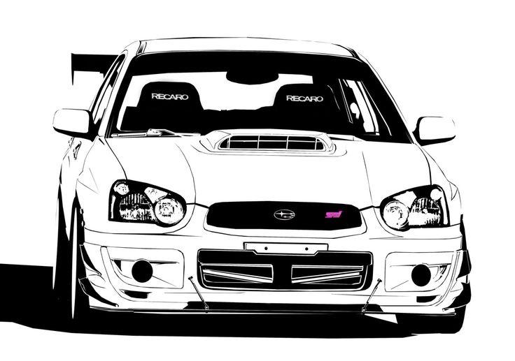 Ruge's Subaru : STI black and white