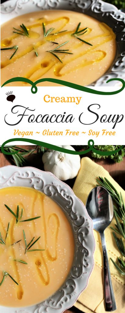 Creamy Focaccia Soup is the ultimate healthy comfort food. Full of potatoes, carrots, onions, garlic, and rosemary. It is vegan, gluten free, and soy free, but full of flavor, satisfying, and delicious.