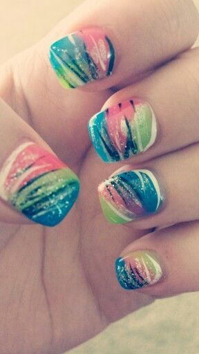 Summer Nails 2014. Crazy. Beautiful.  Colorful. Glitter. #nailcrazy