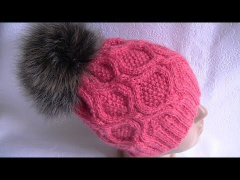 Вязание шапки узором с ромбами на круговых спицах.. Link download: http://www.getlinkyoutube.com/watch?v=xe2YwS5URnc