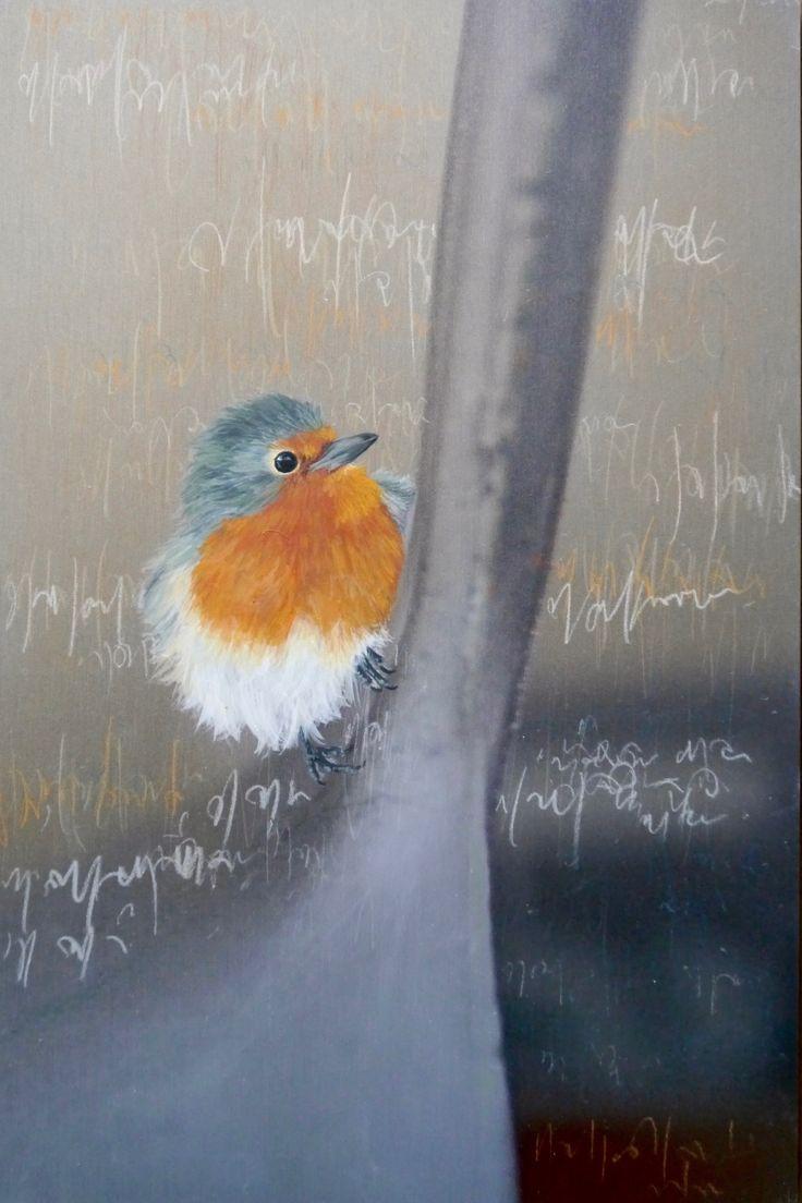 acryl painting on wood bird 12   Rotkehlchen 20 x 30 cm 2016