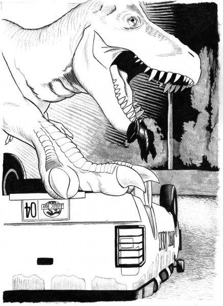 Tyrannosaurus vs. Auto (Parque Jurásico) - Cine   Dibujando.net