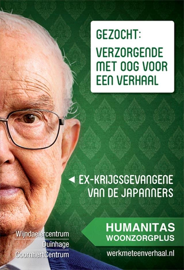 Ad   Humanitas Woonzorgplus Den Haag is een woonzorginstelling waar humane waarden, identiteit en de menselijke maat centraal staan. We vertaalden dat in het thema – werk met een verhaal- en ontwikkelden daarmee een wervingscampagne gericht op verpleegkundigen en verzorgenden met oog voor levensverhalen.
